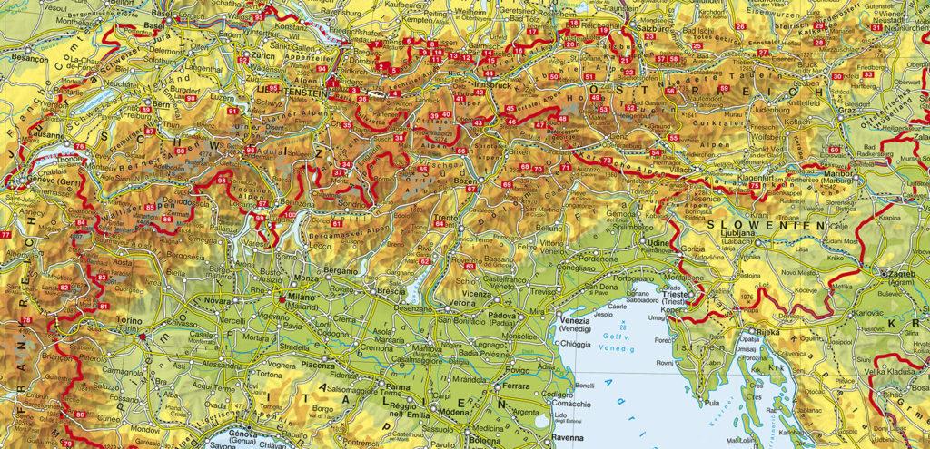 100 Rother-Wanderziele auf einer Karte
