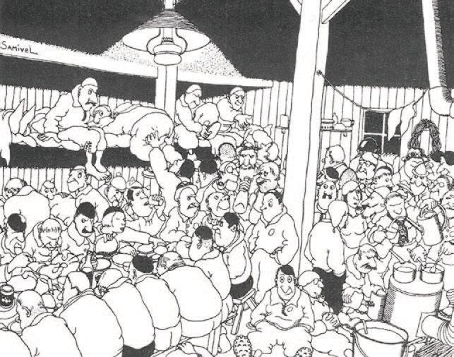 Volle Hütten, volle Berge, Andrang beim Wandern ist kein neues Phänomen. Zeichnung von Samivel 1956/57